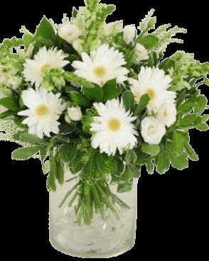זר פרחים לבן קלאסי חגיגי