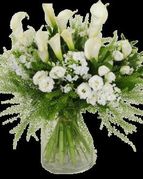 זר פרחים חגיגה בלבן