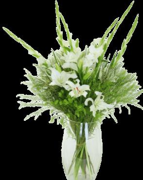 זר פרחים לבן אוריינטלי