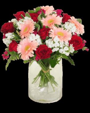 זר פרחים אדום ורוד רומנטי
