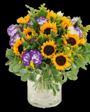 זר פרחים חמניות עם נגיעות סגולות