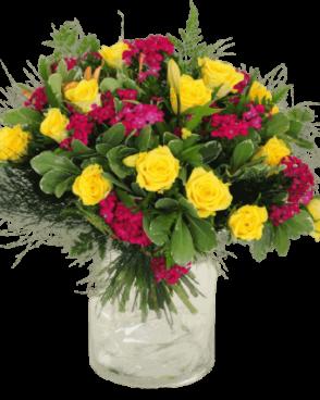זר פרחים צהוב ורוד
