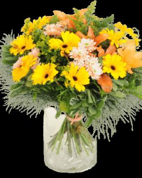 זר פרחים כתום צהוב