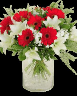 זר פרחים אדום לבן קלאסי