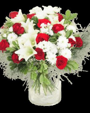 זר פרחים אדום לבן רומנטי