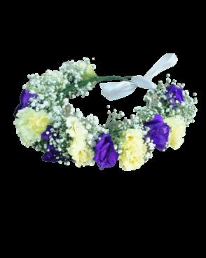 זר פרחים לראש סגול לבן