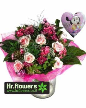 דיל להולדת הבת פרחים+בלון