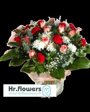 זר פרחים אדום ורוד