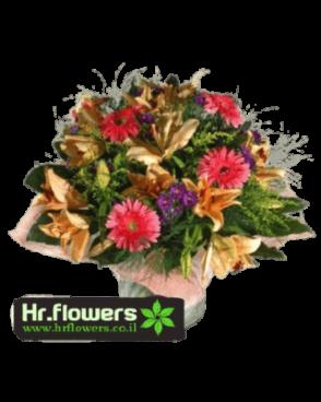 זר פרחים גרברות ורודות ליליות כתומות