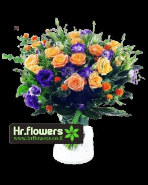זר פרחים כתום סגול