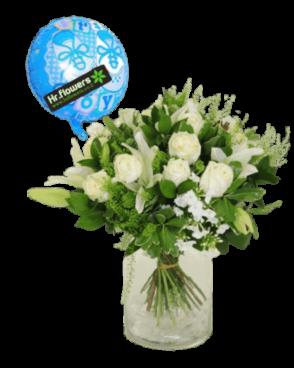 דיל להולדת הבן זר פרחים + בלון
