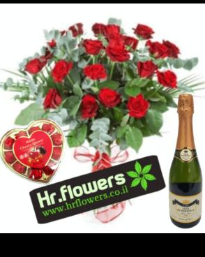 דיל באהבה זר ורדים + שמפניה + שוקולד