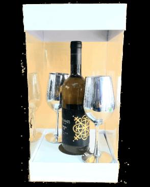 מארז רומנטי יין + שתי כוסות