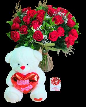 דיל ורדים דובי ושוקולד