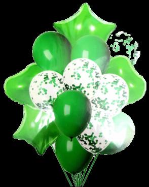 זר 15 בלונים ירוקים קונפטי