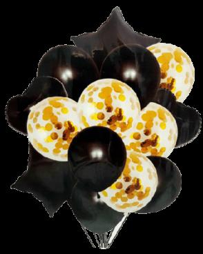 זר 15 בלונים שחור זהב קונפטי