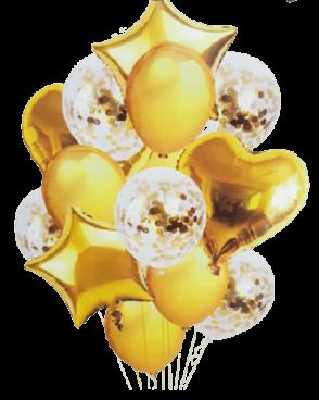 זר 15 בלונים זהב לבן קונפטי