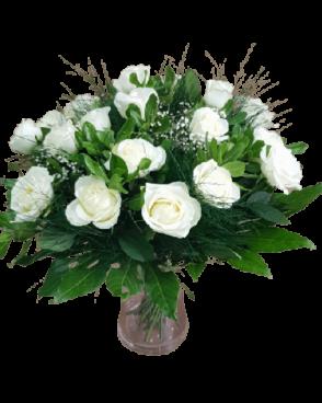 זר פרחים שבועות בלבן
